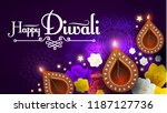 happy diwali. traditional... | Shutterstock .eps vector #1187127736