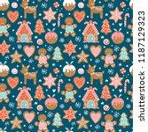 christmas seamless pattern... | Shutterstock .eps vector #1187129323