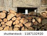 pile of firewood. preparation... | Shutterstock . vector #1187132920