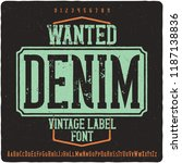 vintage label font name wanted... | Shutterstock .eps vector #1187138836