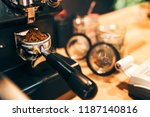 bartender making coffee and... | Shutterstock . vector #1187140816