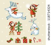 happy new year collection. girl ... | Shutterstock .eps vector #118714324