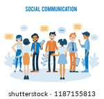 vector social communication... | Shutterstock .eps vector #1187155813