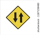 traffic sign  two way traffic... | Shutterstock .eps vector #1187158480