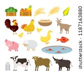 cute farm animals cartoon set ... | Shutterstock .eps vector #1187163880