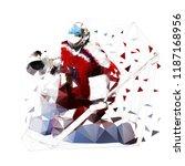 ice hockey goalie in red jersey ... | Shutterstock .eps vector #1187168956