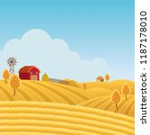 farm on hill with yellow or... | Shutterstock .eps vector #1187178010