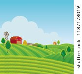 farm on hill with green field... | Shutterstock .eps vector #1187178019