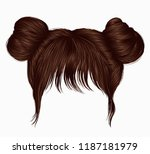 two buns  hairs with fringe... | Shutterstock .eps vector #1187181979