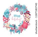 vector christmas round frame.... | Shutterstock .eps vector #1187183740