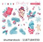 vector set of christmas design... | Shutterstock .eps vector #1187184550