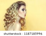young  blonde  haired woman... | Shutterstock . vector #1187185996