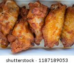 top view of fried chicken wings ... | Shutterstock . vector #1187189053