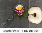 pillow with towel and flower on ... | Shutterstock . vector #1187189059