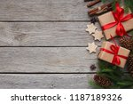 handmade gift boxes with xmas... | Shutterstock . vector #1187189326