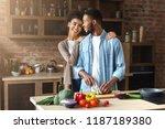 loving black couple preparing... | Shutterstock . vector #1187189380