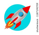 space rocket icon white... | Shutterstock . vector #1187190709