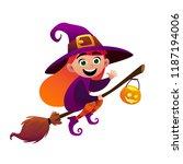 a little witch flies on broom... | Shutterstock .eps vector #1187194006