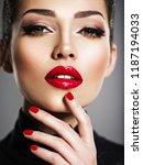 closeup portrait of beautiful... | Shutterstock . vector #1187194033