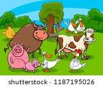 cartoon illustration of funny... | Shutterstock .eps vector #1187195026