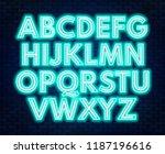 aquamarine white neon alphabet... | Shutterstock .eps vector #1187196616