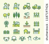 farm and agriculture line icons ... | Shutterstock .eps vector #1187197426