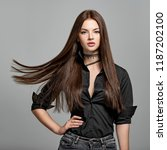 young woman with long straight... | Shutterstock . vector #1187202100