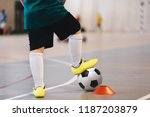 indoor soccer player training... | Shutterstock . vector #1187203879