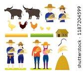 thai farmer with animals set ... | Shutterstock .eps vector #1187204599