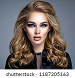 closeup face of a beautiful... | Shutterstock . vector #1187205163