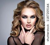closeup face of a beautiful... | Shutterstock . vector #1187205166