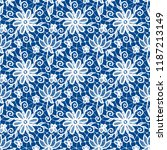 seamless blue lace background... | Shutterstock .eps vector #1187213149