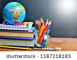 book and color pencils on desk...   Shutterstock . vector #1187218183