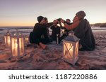 group of young people sitting... | Shutterstock . vector #1187220886