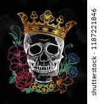 beautiful romantic skull with... | Shutterstock .eps vector #1187221846
