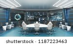 Command, control center, concept design, big displays with big desk in center, 3D rendering