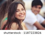 portrait of a happy latin girl... | Shutterstock . vector #1187223826