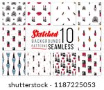 seamless pattern with fashion... | Shutterstock .eps vector #1187225053
