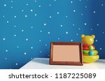 wooden picture frame and kids... | Shutterstock . vector #1187225089