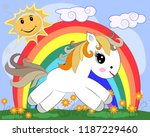 white pony in a clearing with... | Shutterstock .eps vector #1187229460