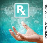 Prescription Symbol on hand,medical background - stock photo