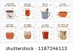 vector postcard collection with ... | Shutterstock .eps vector #1187246113