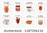 vector postcard collection with ... | Shutterstock .eps vector #1187246116