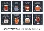vector postcard collection with ... | Shutterstock .eps vector #1187246119