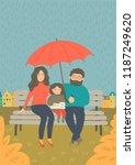 family in the rain. mother ...   Shutterstock .eps vector #1187249620