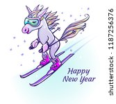 unicorn skiing in winter | Shutterstock .eps vector #1187256376