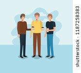 group of men drinking coffee | Shutterstock .eps vector #1187258383