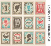 Vector Postage Stamps Set.