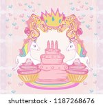 frame with unicorns and... | Shutterstock . vector #1187268676