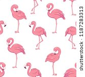 tropical flamingo pattern | Shutterstock .eps vector #1187283313